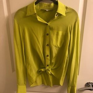 Trina Turk Chartreuse Silk Tie Front Blouse Sz S